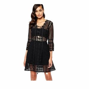 Self Portrait Mini Guipure A Line Lace Dress